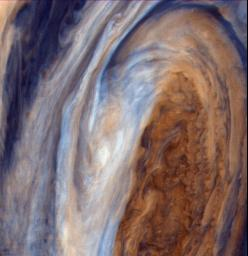 PIA00018: Exaggerated Color View of the Great Red Spot