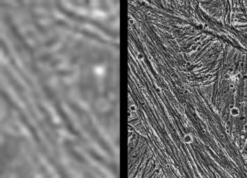 PIA00277: Ganymede - Comparison of Voyager and Galileo Resolution