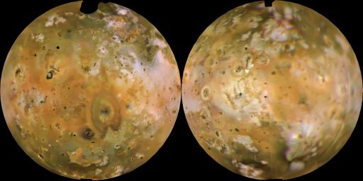 PIA00318: Io Shown in Lambertian Equal Area Projection and in Approximately Natural Color
