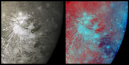 PIA00334: Crater Rays on Ganymede