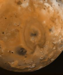 PIA01514: Io Surface Deposits and Volcanic Craters