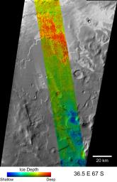 PIA09336: Depth-to-Ice Map of a Southern Mars Site Near Melea Planum