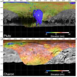PIA21862: Global Mosaics of Pluto and Charon