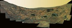 PIA02689: 'Gibson' Panorama by Spirit at 'Home Plate' (False Color)